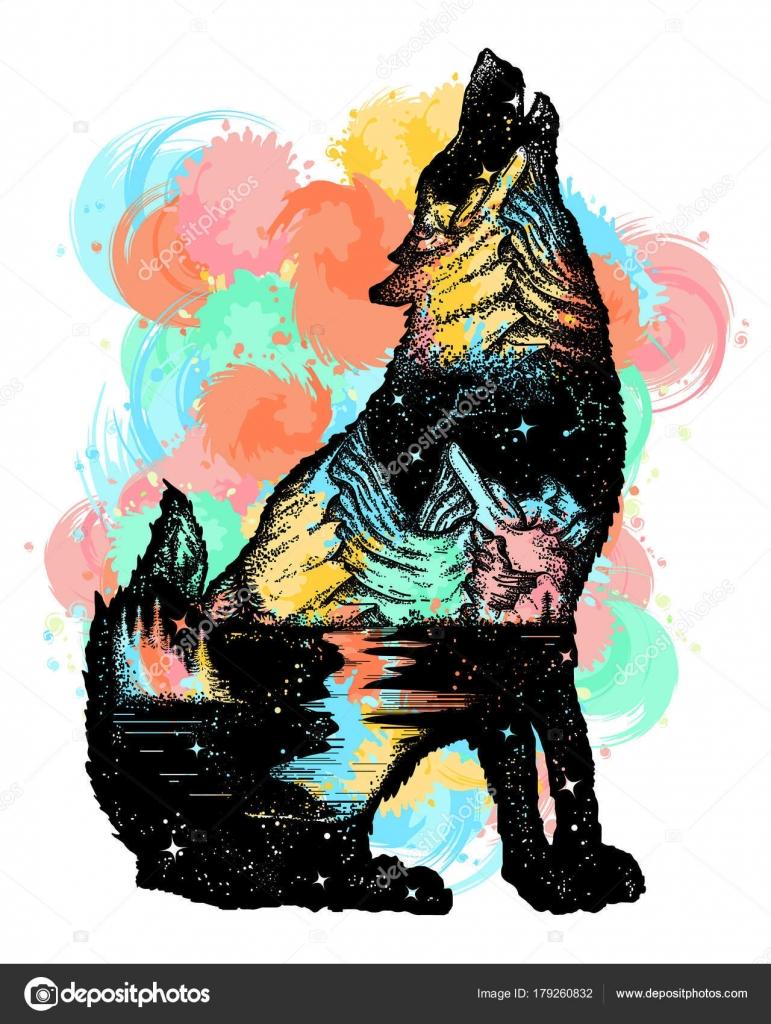 Tatuaje Lobo Montaña Lobo Doble Exposición Color Del Tatuaje El