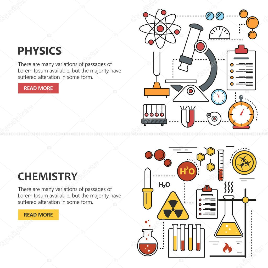 Science Banner Vector Concepts In Line Style Chemistry
