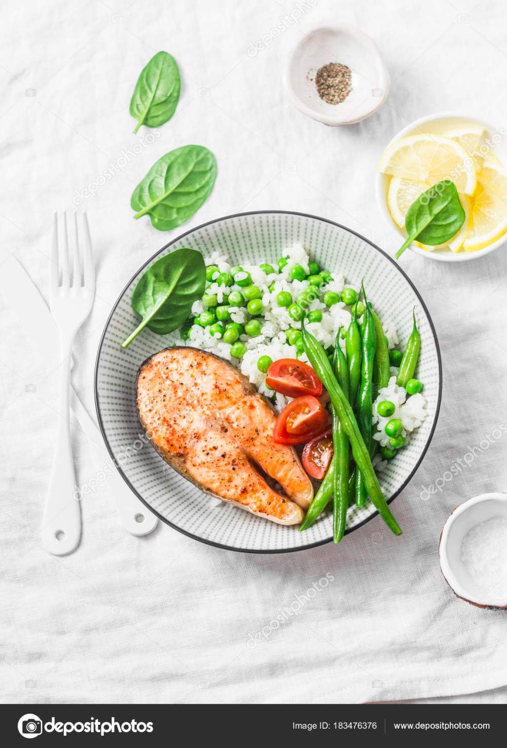 medium resolution of healthy balanced meal lunch plate baked salmon rice vegetables light stock photo