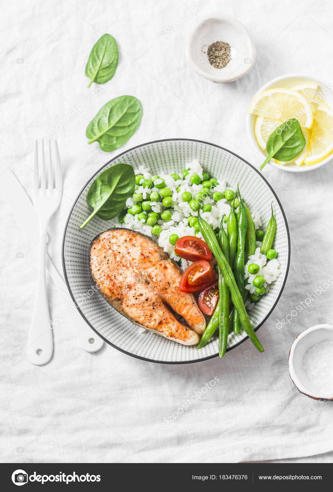 hight resolution of healthy balanced meal lunch plate baked salmon rice vegetables light stock photo