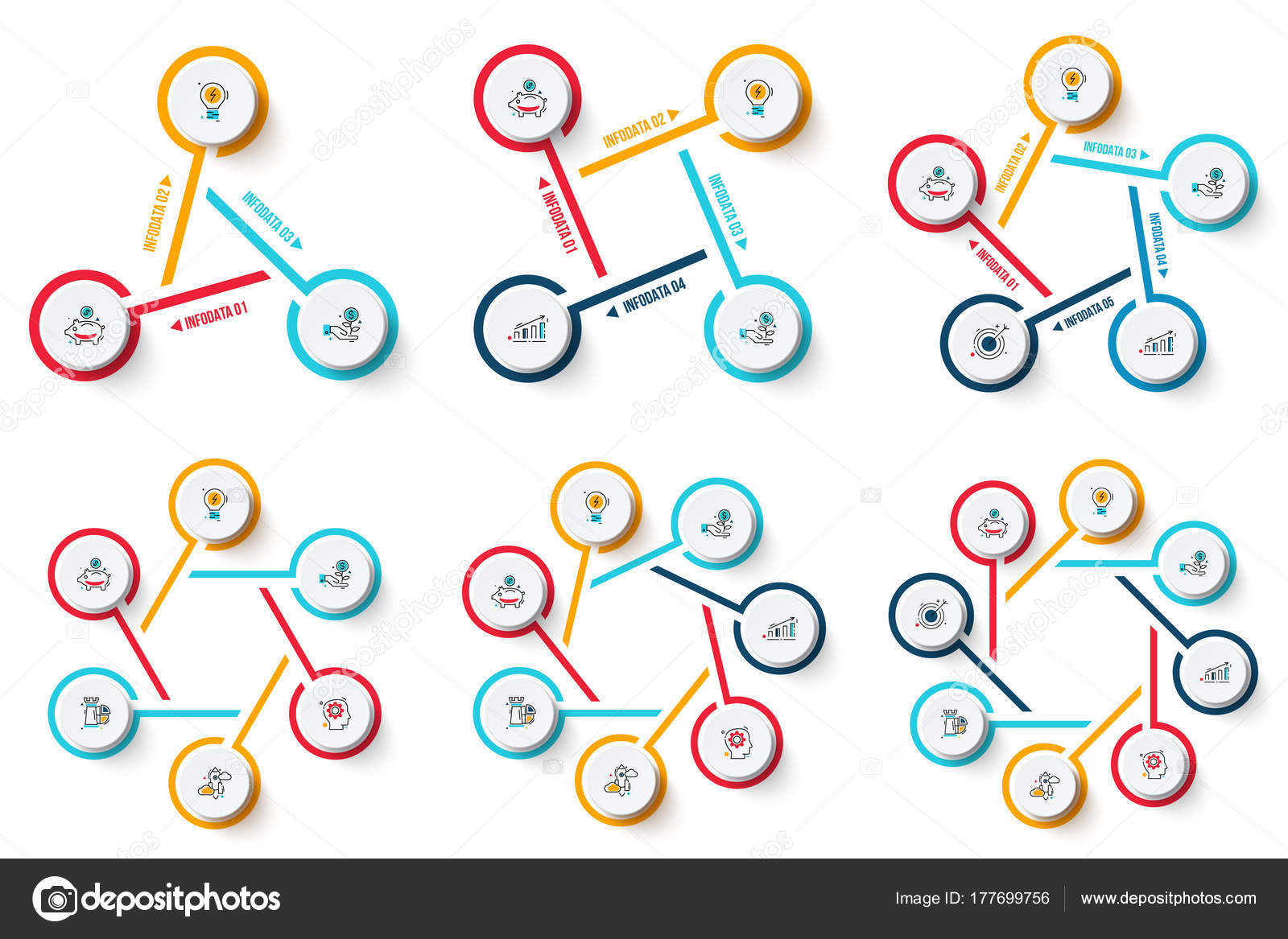 hight resolution of vector circle infographics set template for cycle diagram graph presentation and chart business concept with 3 4 5 6 7 and 8 options parts