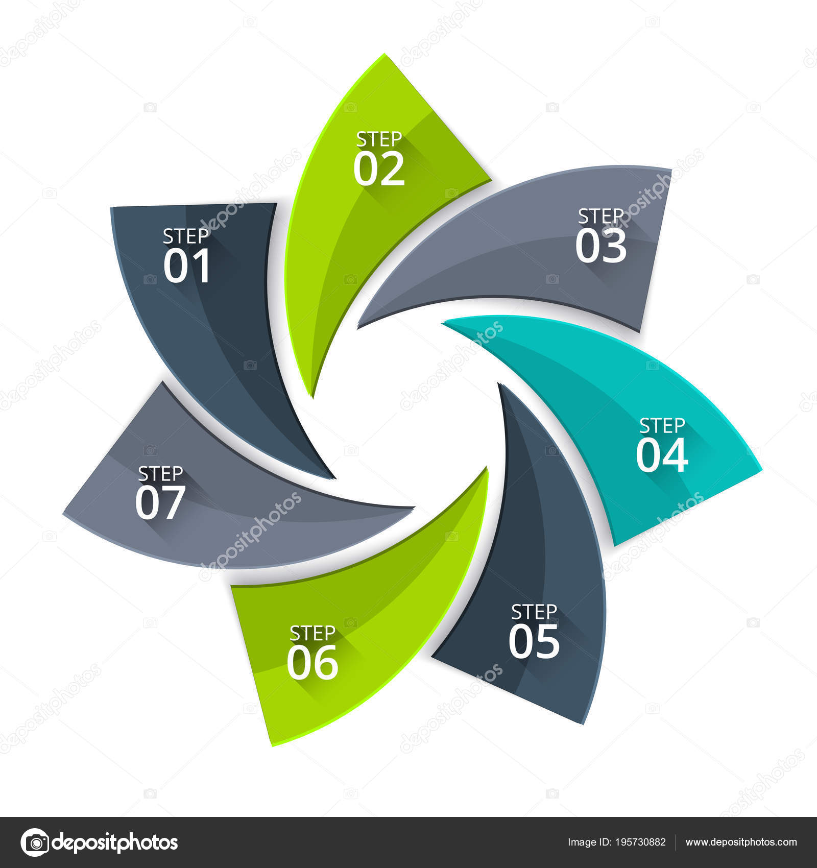 hight resolution of vector twisted diagram for business infographic abstract element of cycle diagram with 7 steps