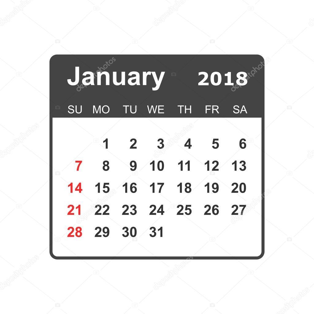 Calendario De Janeiro De Modelo De Design De