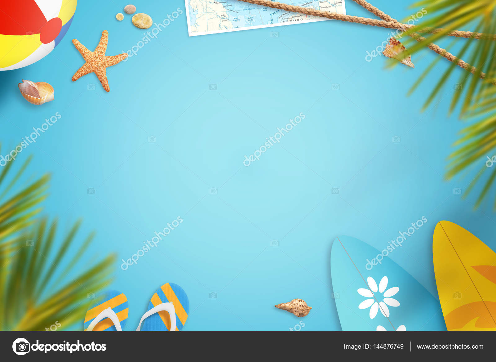Summer Beach Vacation Travel Background Image With Free Space For Text Items For Entertainment At Beach In The Shade Of Palm Trees Stock Photo C Vlado85 144876749