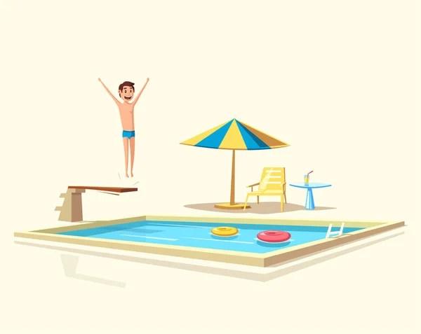 man jumping. swimming pool