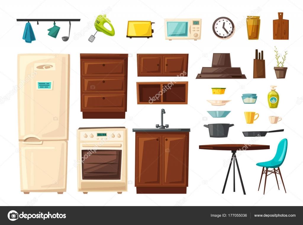 kitchen tables sets copper sink 一套厨房内饰与家具和工具 卡通矢量插图 图库矢量图像 c dmitrymoi 桌子 炉子 橱柜 炊具和冰箱 家居室内 厨房用具家具 烹饪横幅 用于web 和打印 矢量图片dmitrymoi