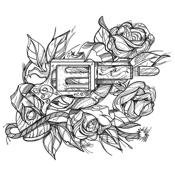 Gun and roses tattoo hand drawing style. Picture for