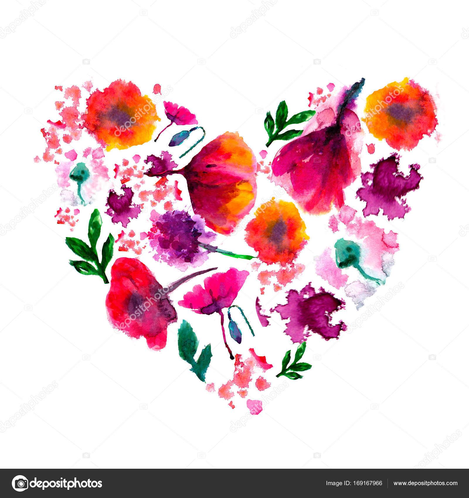 Aquarell Blume Herz gemalt Gemalten Herzen Aquarell Herz Blumen gemacht Perfekte Valentinstag