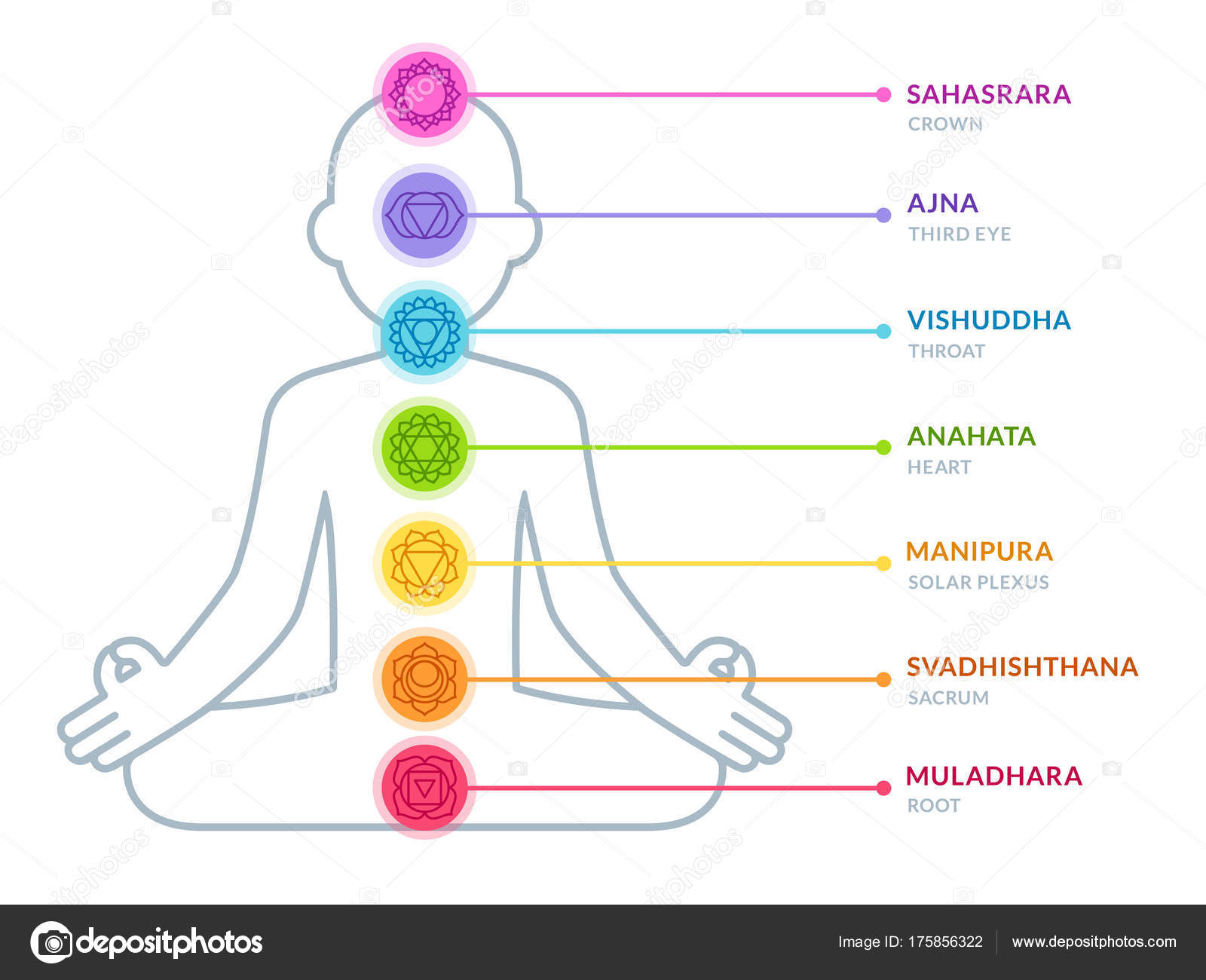 hight resolution of chakras infographic chart in simple and modern flat style male body silhouette in lotus pose yoga and ayurveda concept vector illustration