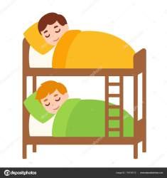 sleeping bed bunk clip boys clipart drawing sleepover cartoon illustration vector kid drawings children bunkbed roommate boy cute illustrations royalty