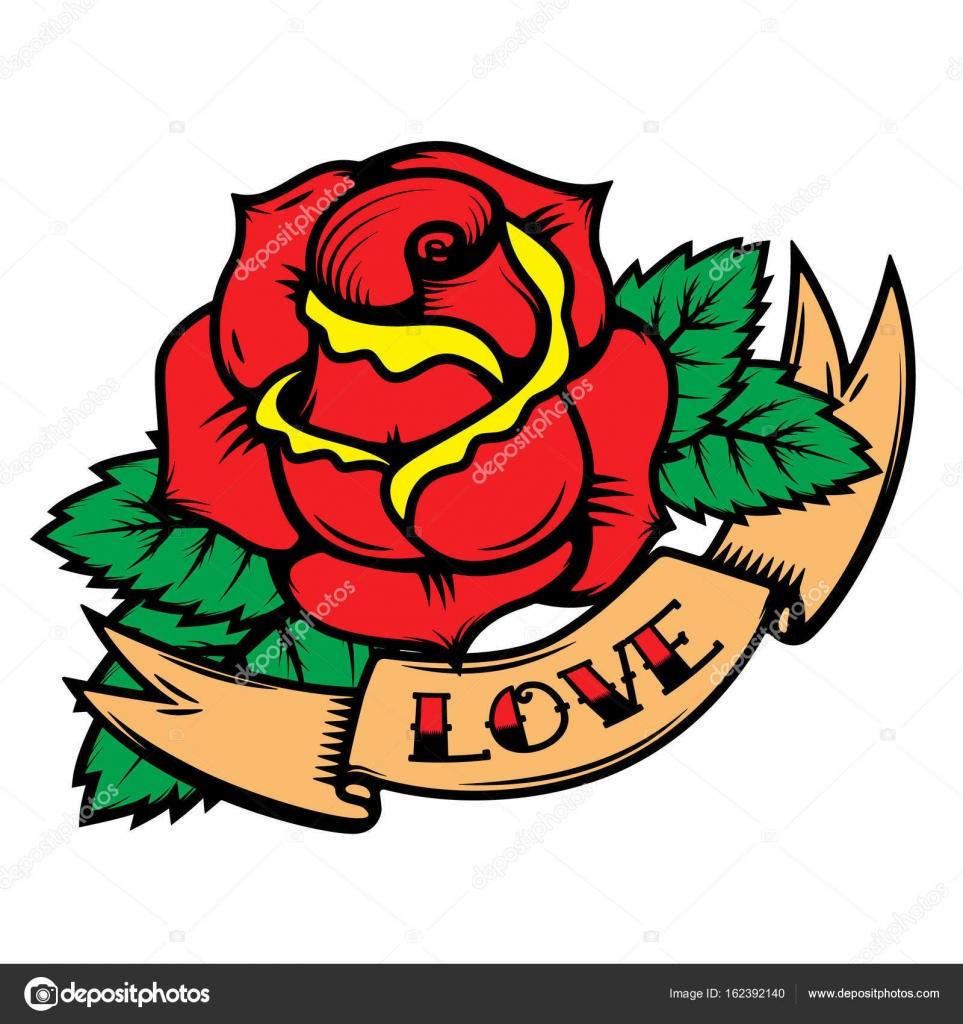 Boton De Rosa Tattoo Rosas De Estilo De Tatuajes De Vieja Escuela
