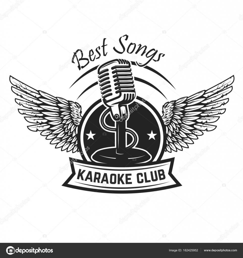 Modelo De Legenda De Clube De Karaoke Emblema Com