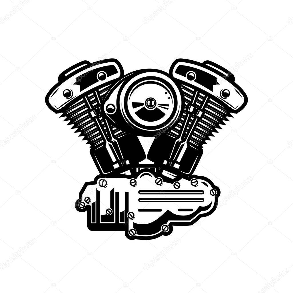 Ilustracao De Motor Da Motocicleta Em Fundo Branco
