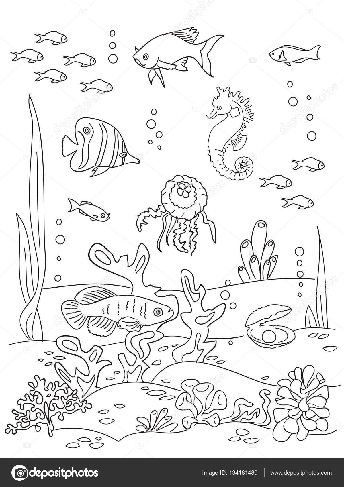 Ocean bottom sketch. — Stock Vector © NatalieBakunina