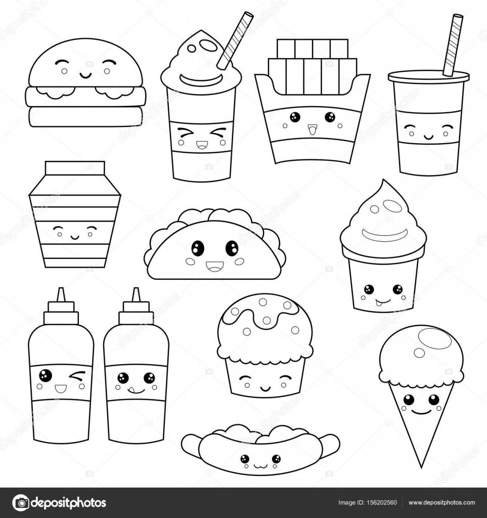 Coloriage Fast Food Kawaii
