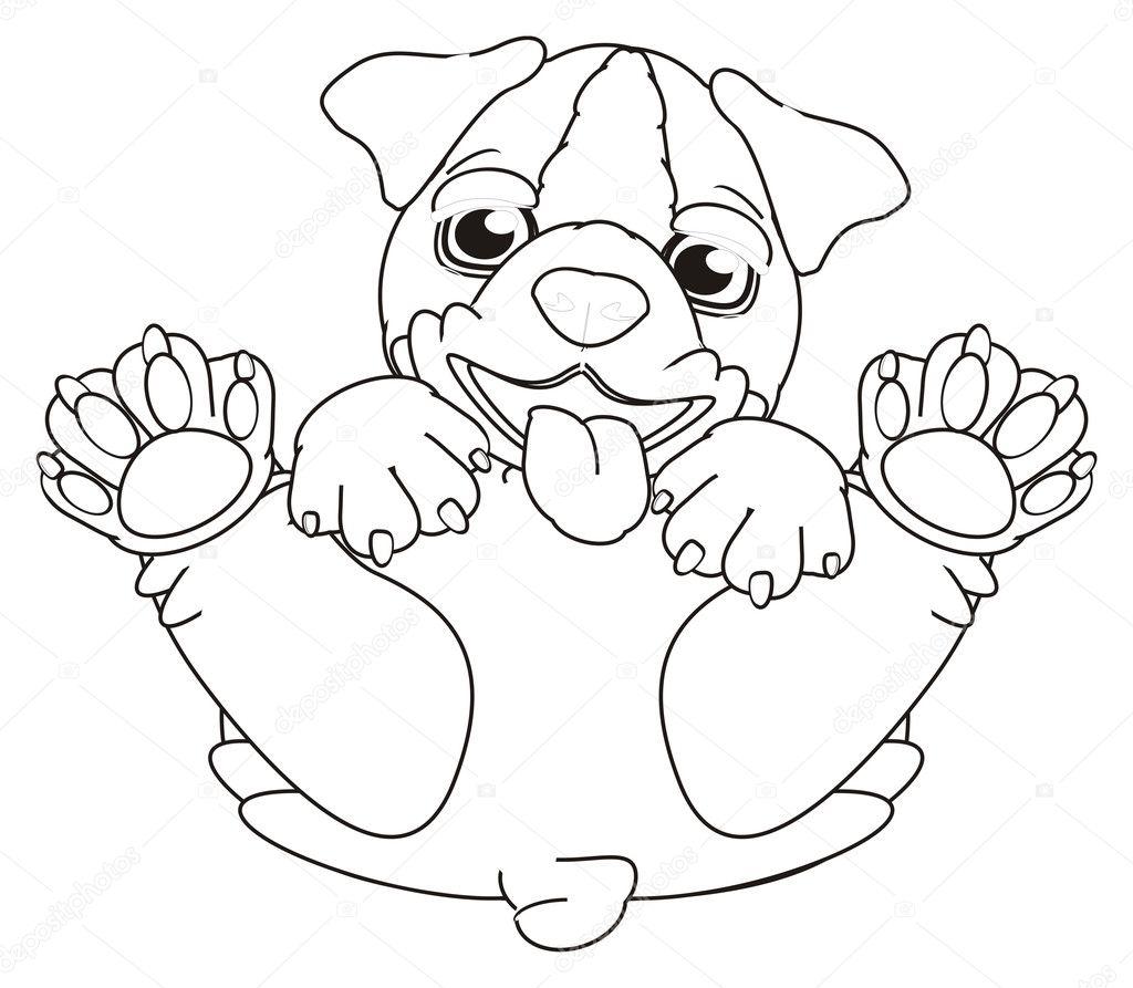 Alleen Kleurplaat Hond Puppy
