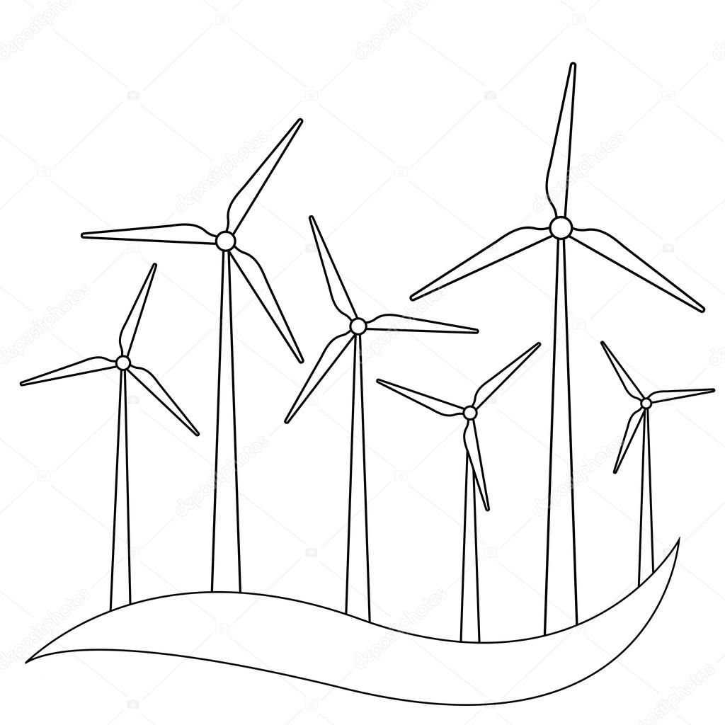 Rüzgar Türbini vektör çizim. Yel değirmeni. Rüzgar Türbini