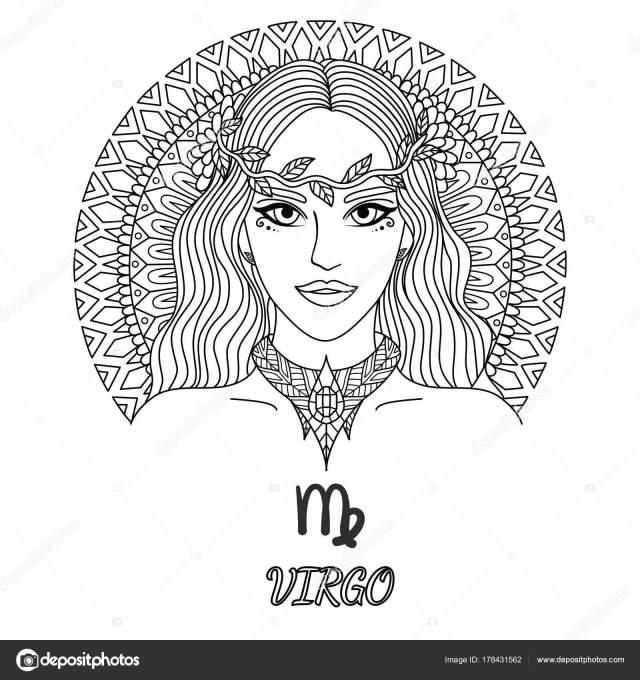 Zen Art Design Virgo Zodiac Sign Design Element Coloring Book