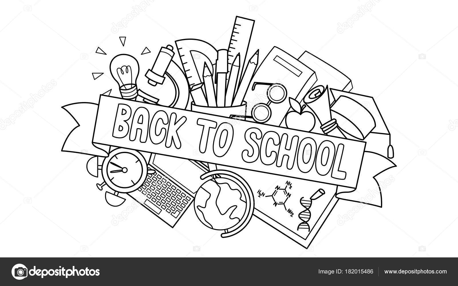 Doodle Student Supplies Back School Label Front Design