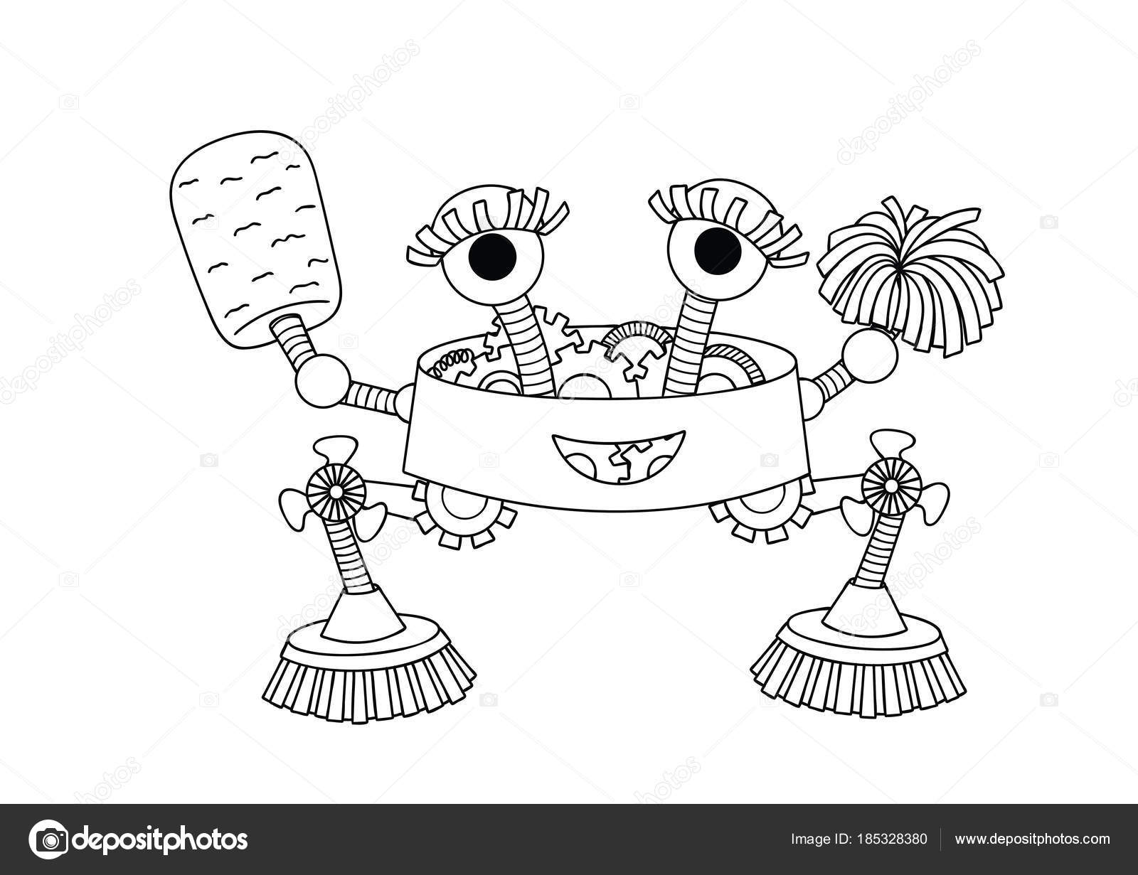 Hand Drawn Cute Housekeeper Robot Design Element Coloring