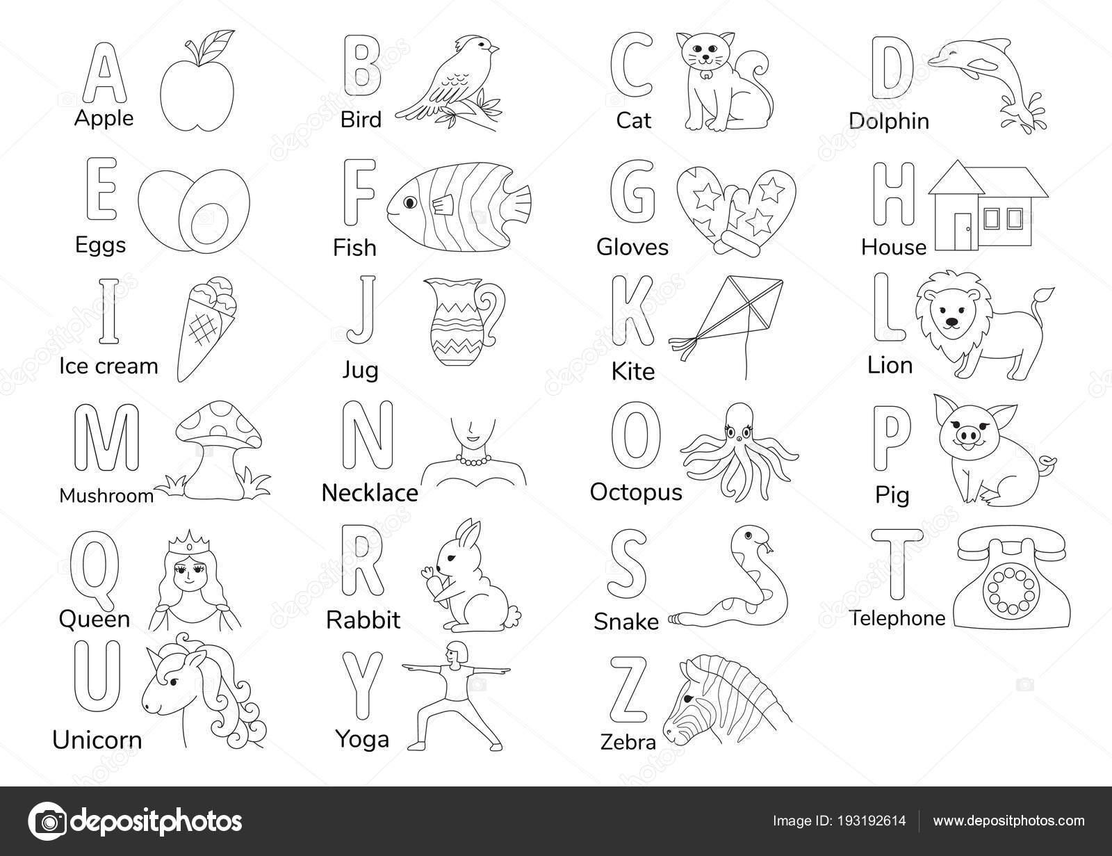 Bezbarwny Alfabetów Rysunek Dla Kolorowanki Książki Dla