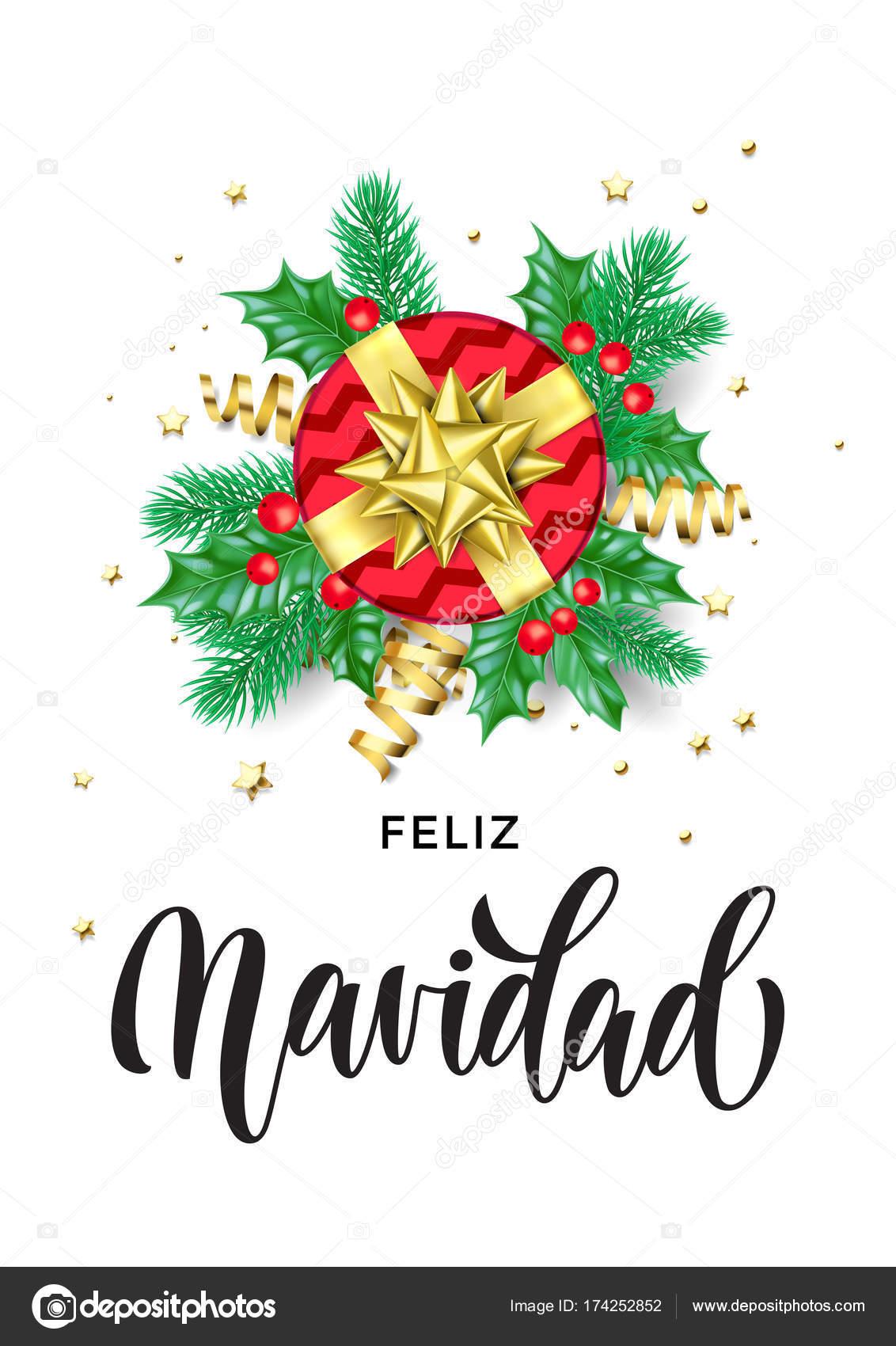 Merry Christmas Spanish Feliz Navidad Holiday Hand Drawn