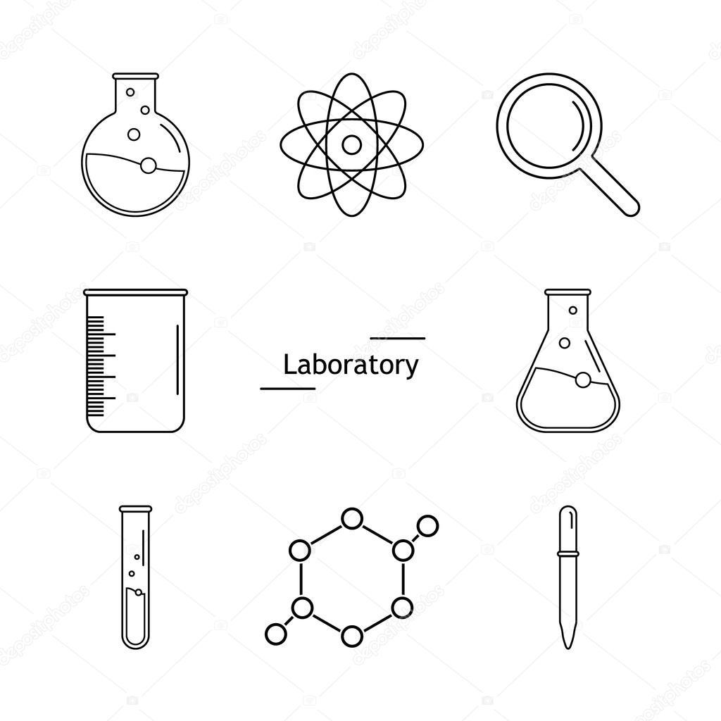 Conjunto De Frascos Del Laboratorio Objetos De La Química