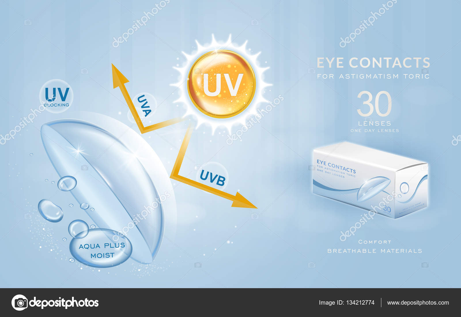 hight resolution of eye contacts ads template stock vector