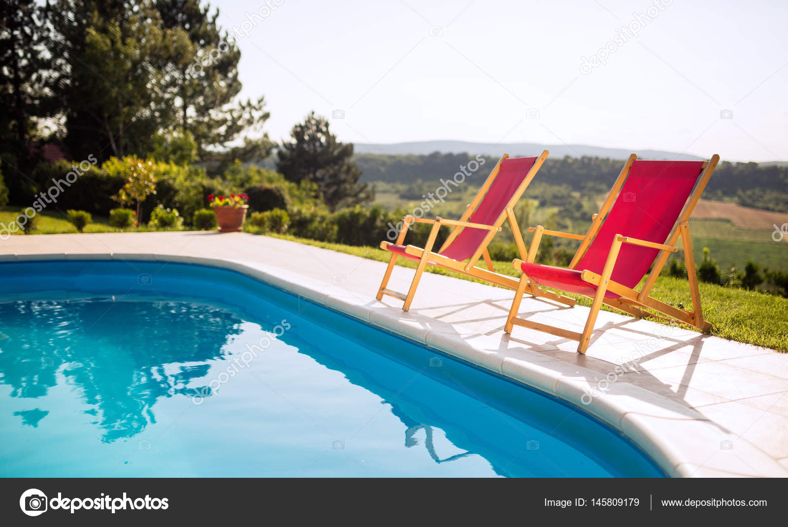 Sunbathing Chairs Pool With Sunbathing Chairs Stock Photo Nd3000 145809179