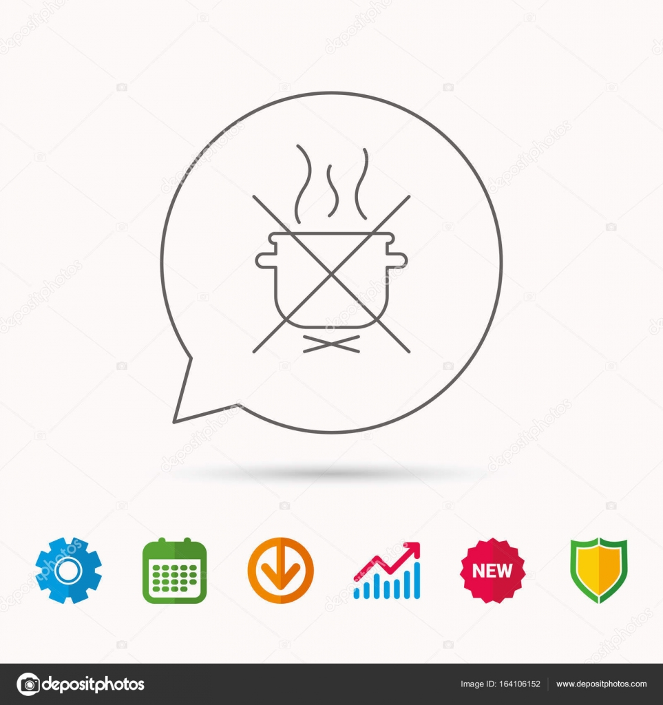 hight resolution of boiling saucepan icon do not boil water sign cooking manual attenction symbol calendar graph chart and cogwheel signs download and shield web icons