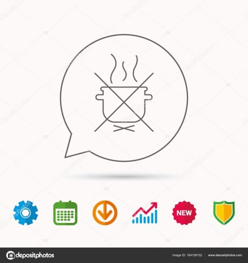 small resolution of boiling saucepan icon do not boil water sign cooking manual attenction symbol calendar graph chart and cogwheel signs download and shield web icons