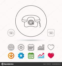 old telephone sign calendar graph chart and cogwheel signs download and heart love linear web icons vector vector by tanyastock [ 1600 x 1700 Pixel ]