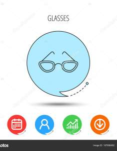 Reading accessory sign calendar user and business chart download arrow icons speech bubbles with flat signs vector  by tanyastock also glasses icon stock rh depositphotos