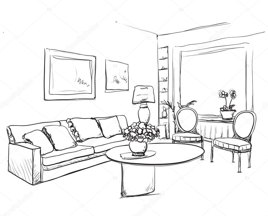 Dibujo interior de la habitación. Muebles y sofá dibujado