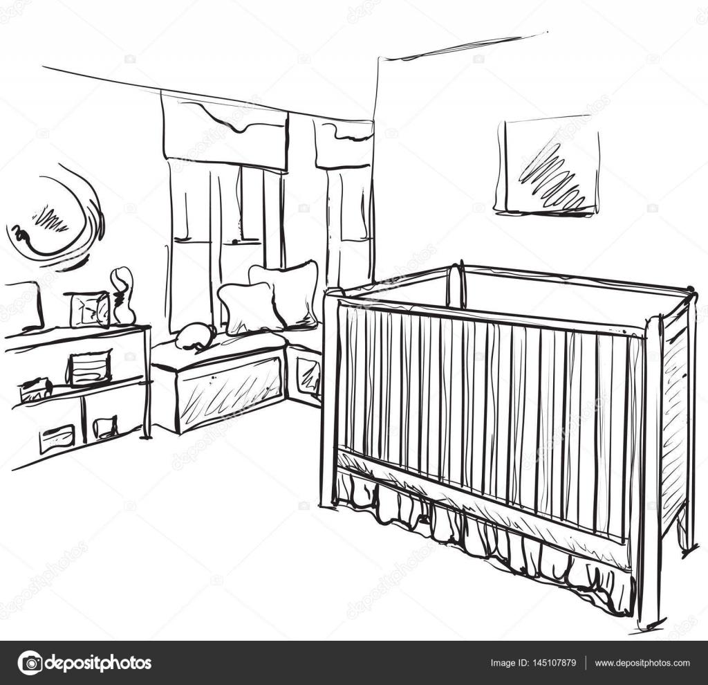 Quarto De Criancas Desenhada Desenho De Moveis Cama De
