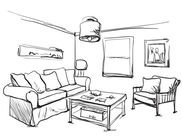 Living room interior sketch. — Stock Vector © AVD_88 #62283961