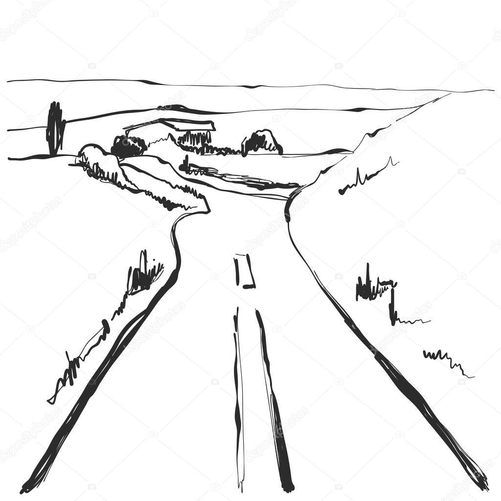 Camino En El Campo Boceto De Paisaje Dibujado Mano