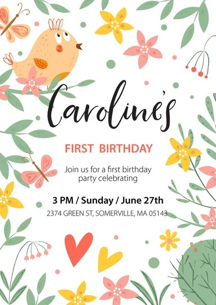 vector happy birthday invitation card