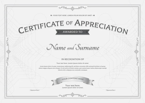 Certificate of appreciation template with watermark