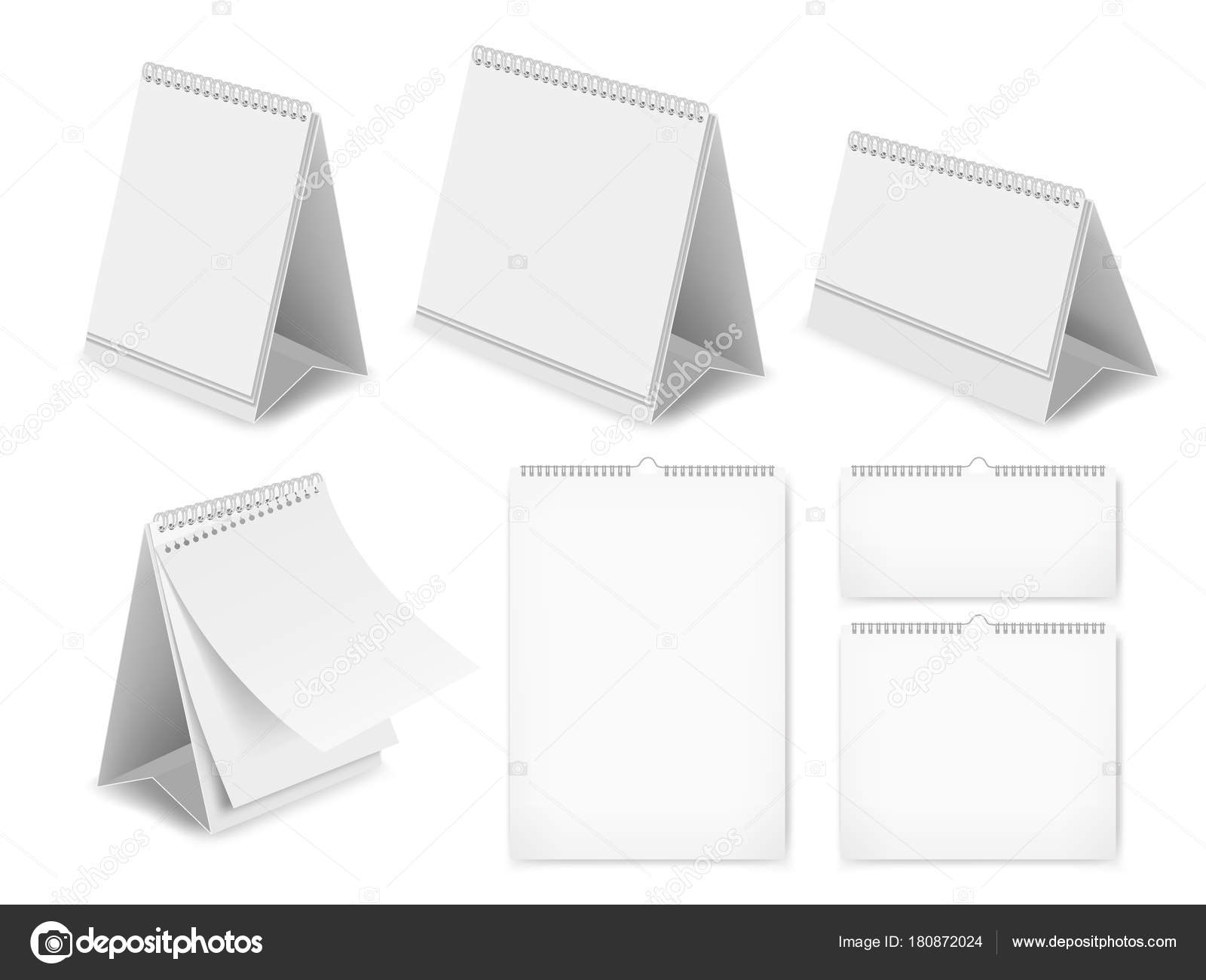 hight resolution of vector realistic illustration of white blank table calendars isolated on white background desk calendar mockups set vector by siberianart