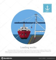 load cargo ship in the port unloading containers by a seaport crane stock vector [ 963 x 1024 Pixel ]