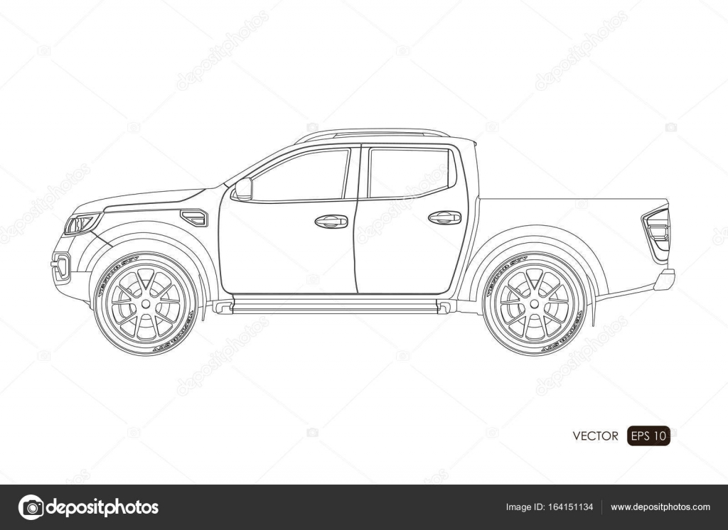 Blueprint of SUV. Contour drawing of car on a white