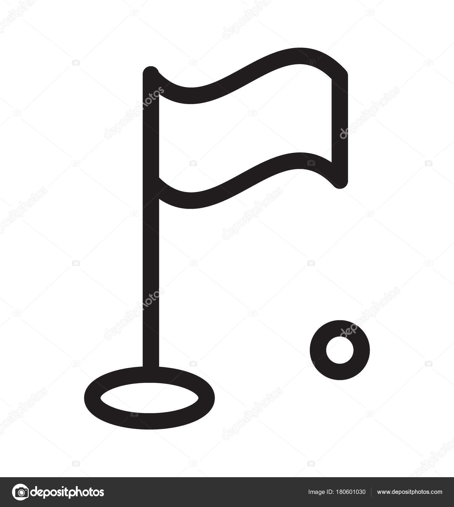 Golf Flag Vector Outline Icon