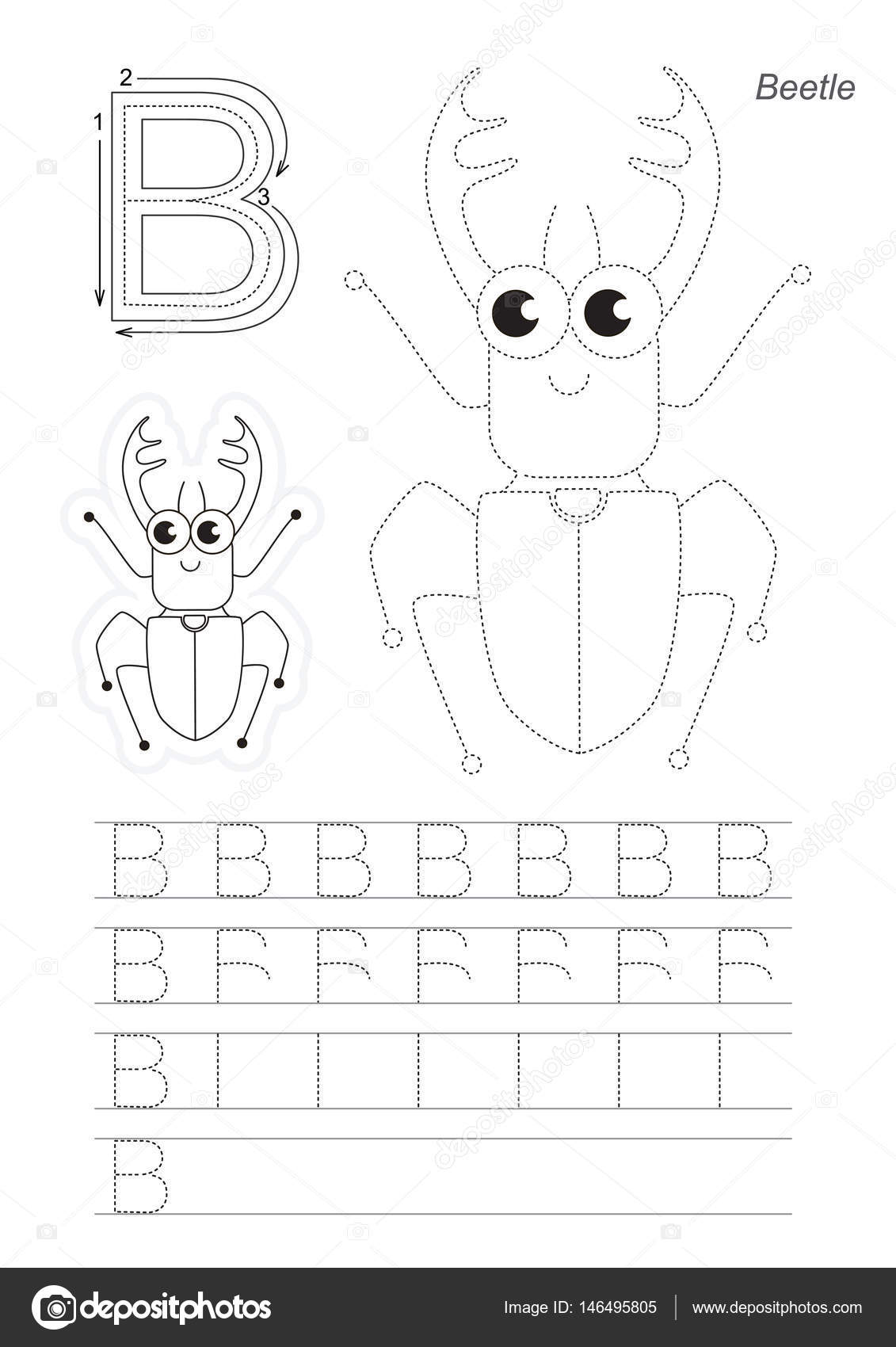 Trace Letter B