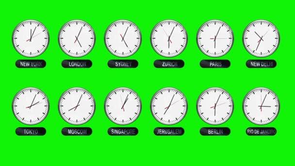 different time zones clocks