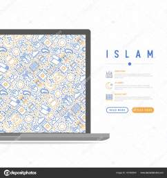 islam concept with thin line icons mosque carpet rosary prayer koran moslem modern vector illustration template for web page  [ 1600 x 1700 Pixel ]