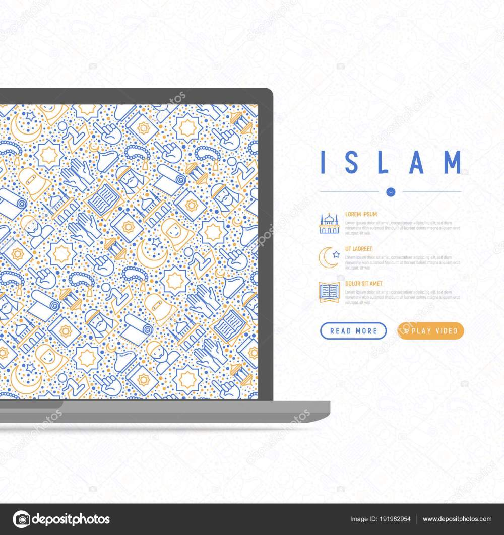 medium resolution of islam concept with thin line icons mosque carpet rosary prayer koran moslem modern vector illustration template for web page
