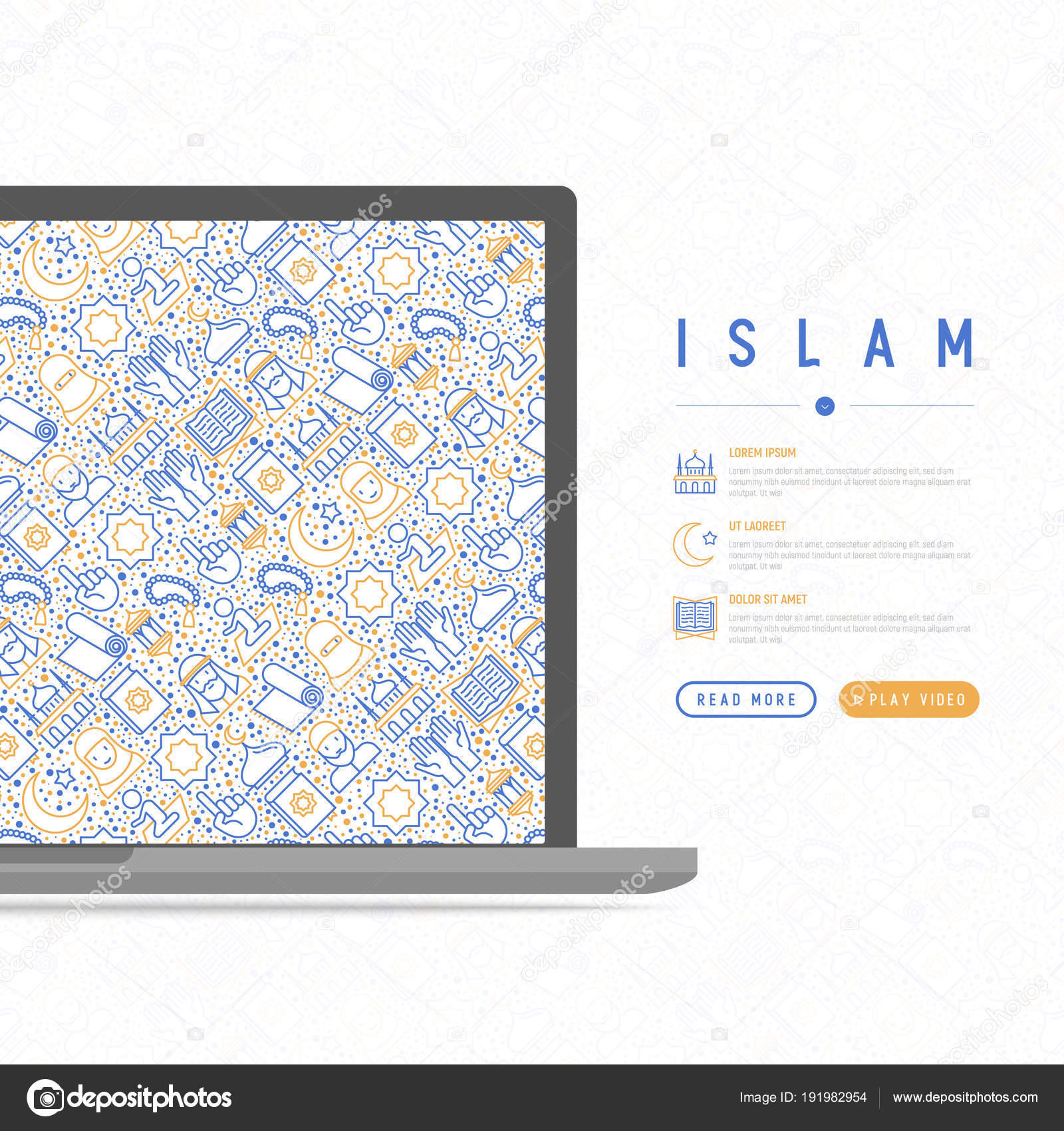 hight resolution of islam concept with thin line icons mosque carpet rosary prayer koran moslem modern vector illustration template for web page