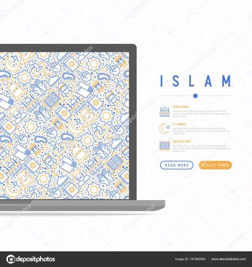 small resolution of islam concept with thin line icons mosque carpet rosary prayer koran moslem modern vector illustration template for web page