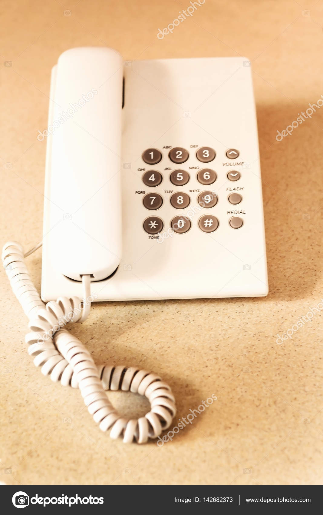 hight resolution of white a wired phone buttons top view stock photo